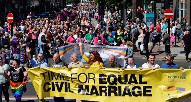 Dozens marched in Belfast today for equal marriage in Northern Ireland