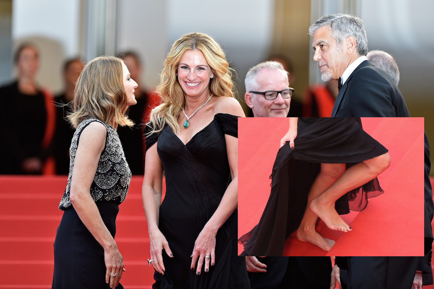 Julia roberts has an excellent reason for wearing no shoes on the julia roberts has an excellent reason for wearing no shoes on the cannes red carpet pinknews voltagebd Choice Image