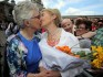 Katherine Zappone (L) and wife Ann Louise Gilligan (Photo credit should read PAUL FAITH/AFP/Getty Images)