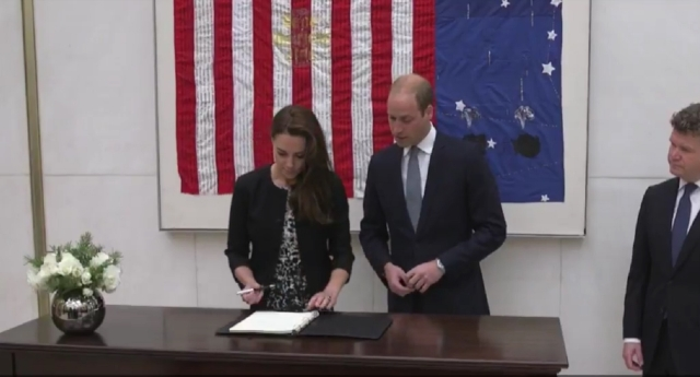 The pair visited the US Embassy in London to sign the book