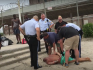 Photographer Krys Fox was swarmed by park police after his towel fell off at a LGBT beach in NYC.
