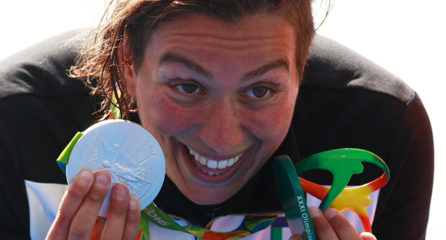 The marathon swimmer won silver before she came out as gay publicly (Image: Getty - under licence)