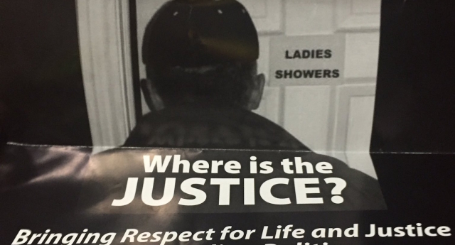 The posters depict a man going into a women's shower room (Image: Twitter - under licence)