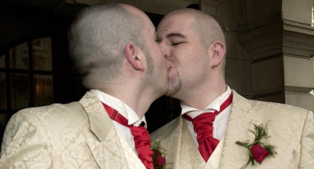 Henry Kane and Christopher Flanagan were one of the first couples to enter a civil partnership in 2005 (Photo by PETER MUHLY/AFP/Getty Images)