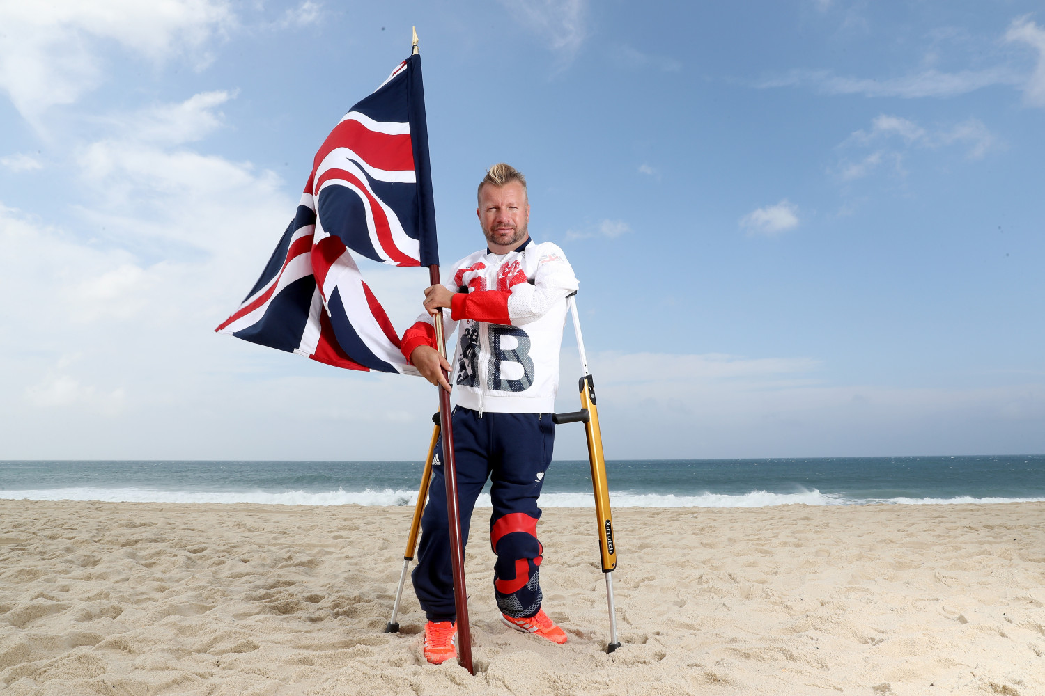 Equestrian rider Lee Pearson with the Union Jack (Photo by (Matthew Stockman/Getty Images