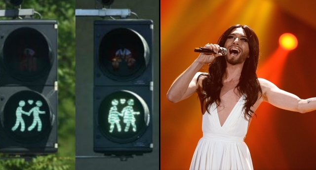 Gay traffic lights (left) and Conchita Wurst