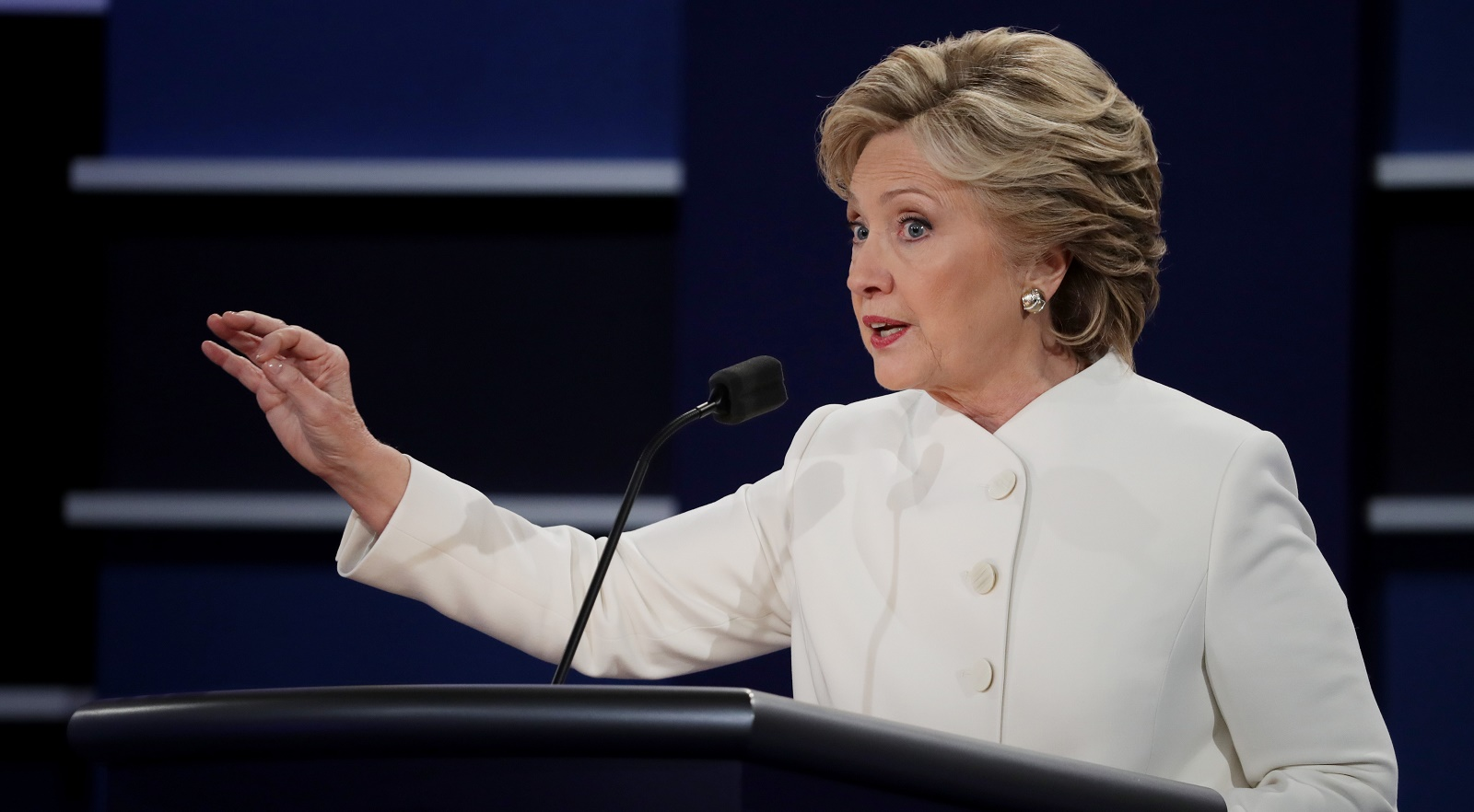 LAS VEGAS, NV - OCTOBER 19:  Democratic presidential nominee former Secretary of State Hillary Clinton speaks during the third U.S. presidential debate at the Thomas & Mack Center on October 19, 2016 in Las Vegas, Nevada. Tonight is the final debate ahead of Election Day on November 8.  (Photo by Chip Somodevilla/Getty Images)