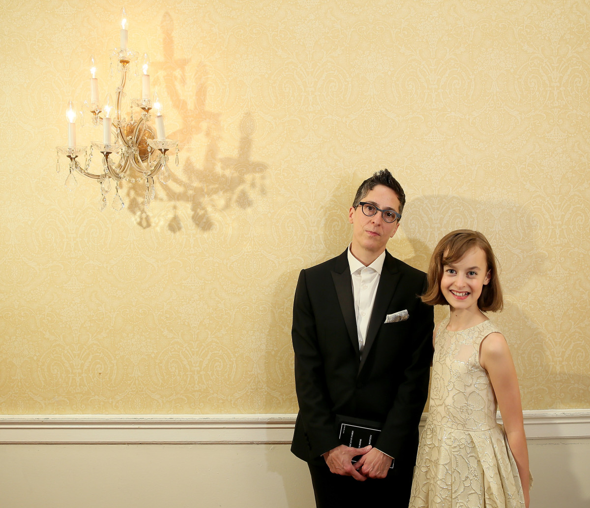 """Alison Bechdel (L) and Sydney Lucas of """"Fun Home"""" (Photo by Jemal Countess/Getty Images for Tony Awards Productions)"""