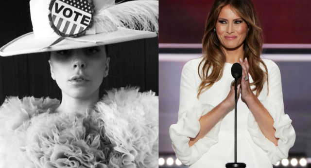 Gaga ain't Melania's biggest fan... (Twitter/Getty Images)