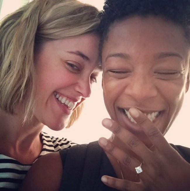 Writer Lauren Morelli and actor and Samira Wiley with ring