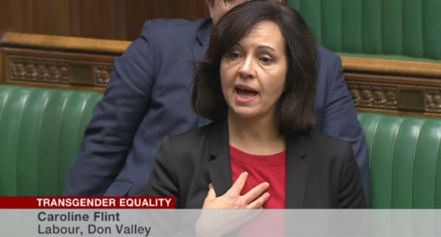 Unlike many of her colleagues, Ms Flint was not wearing a World AIDS Day ribbon as she intervened in the landmark debate