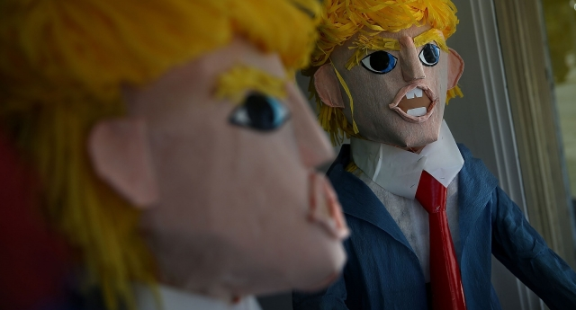 Donald Trump pinatas on sale in San Francisco, where he got just 10 percent of the vote (Photo by Justin Sullivan/Getty Images)