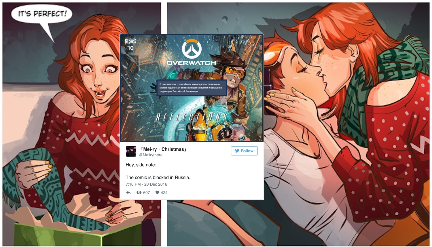 Reader Comments  C2 B7 Cute Overwatch Comic Featuring Lesbian Christmas Kiss Banned In Russia  C2 B7 Pinknews