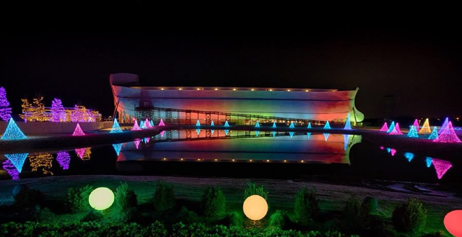 Noah's Ark Park lit up with Rainbow lights