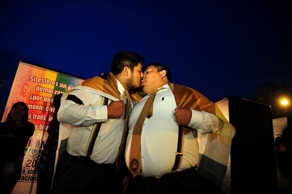 LGBT community celebrate Valentine's day in Lima, Peru (Photo by ERNESTO BENAVIDES/AFP/Getty Images)