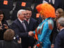 Frank-Walter Steinmeier receives congratulations from drag queen Olivia Jones (Photo by Sean Gallup/Getty Images)