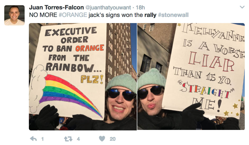 """""""Executive order to ban orange from the rainbow please"""" Pride sign 2017"""