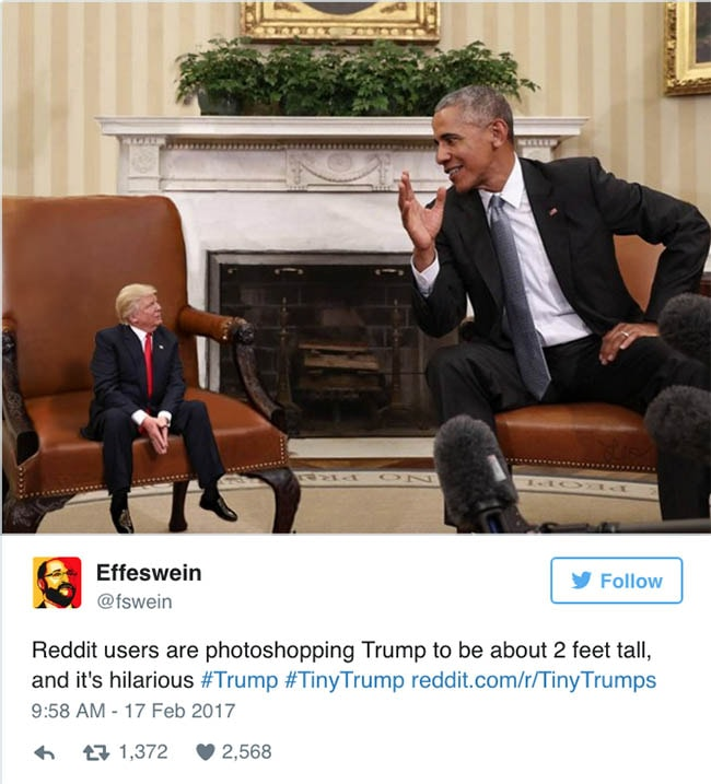 Tiny Trump Is The Meme That We Didnt Even Know We Wanted PinkNews - The internet is using photoshop to make tiny trumps and its hilarious