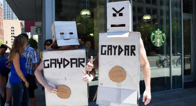 Two people dress up as Gaydar bots during San Francisco's 2014 gay pride parade (Scott Schiller/flickr, CC BY-NC)