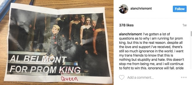 Instagram post of prom poster with king crossed out and replaced with queen