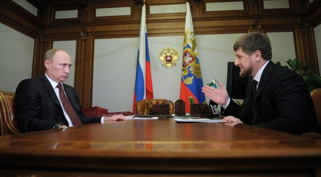 Russian President Vladimir Putin meets with Chechnya leader Ramzan Kadyrov (Photo by ALEXEY DRUZHININ/AFP/Getty Images)