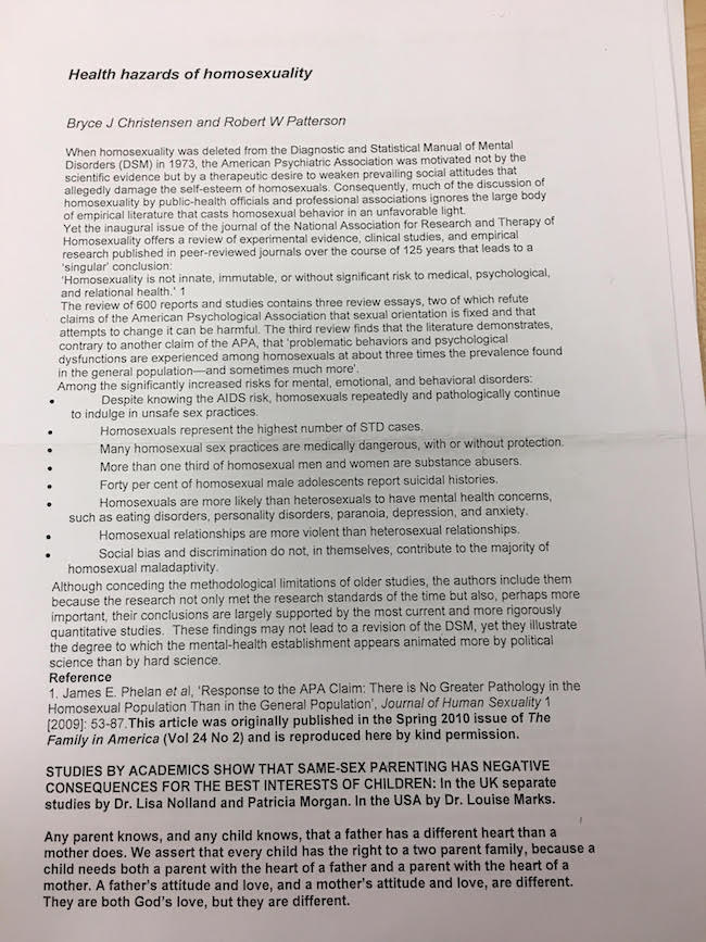 Teachers bombarded with letters saying gays can 'go straight