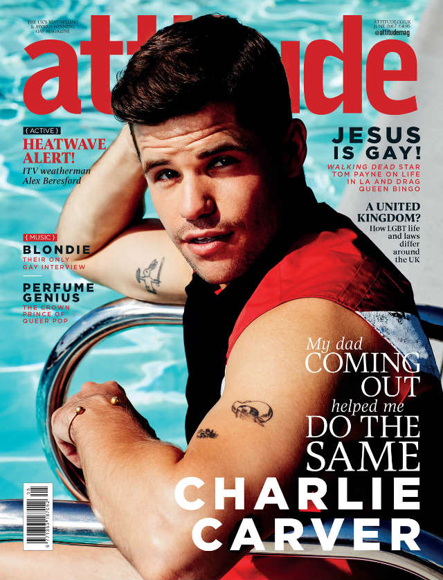 Charlie Carver on the cover of Attitude