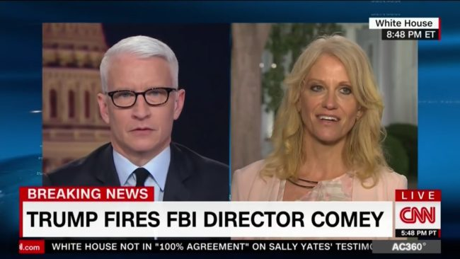 Kellyanne Conway appears in an interview with Anderson Cooper