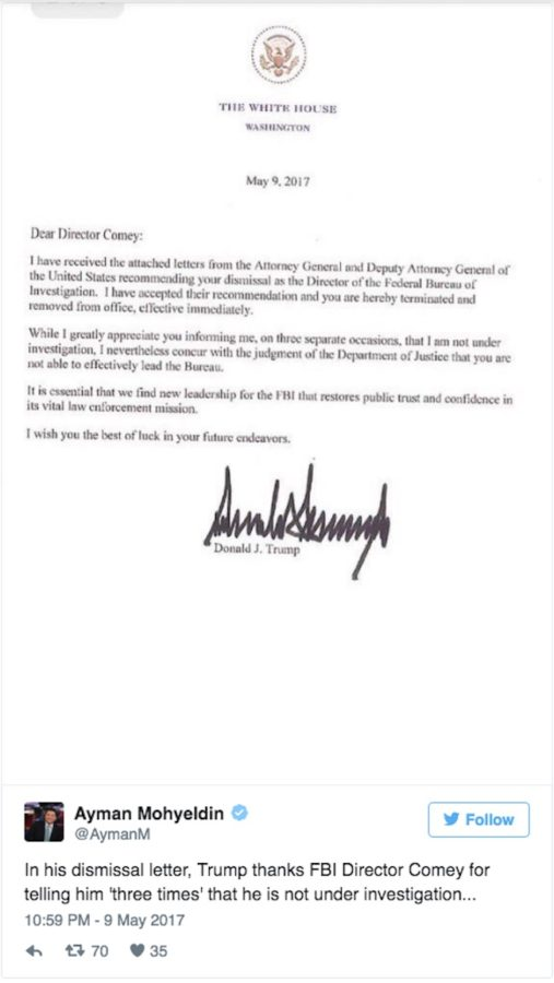 Letter from President Trump dismissing James Comey
