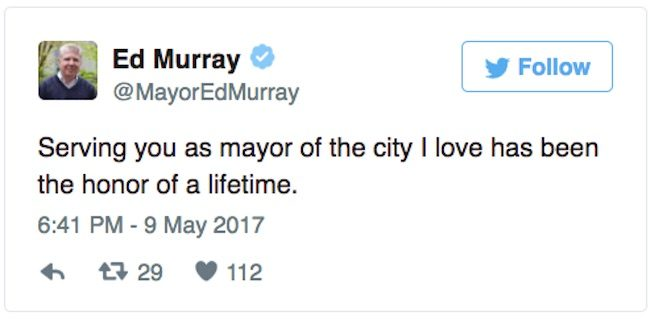 Tweet by Seattle Mayor Ed Murray