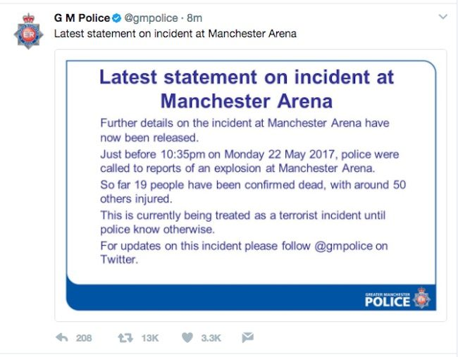 Police tweet about the incident at an Ariana Grande concert at Manchester Arena