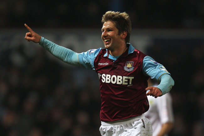 LONDON, ENGLAND - FEBRUARY 21:  Thomas Hitzlsperger of West Ham United celebrates the opening goal during the FA Cup sponsored by E.ON 5th Round match between West Ham United and Burnley at the Boleyn Ground on February 21, 2011 in London, England.  (Photo by Paul Gilham/Getty Images)