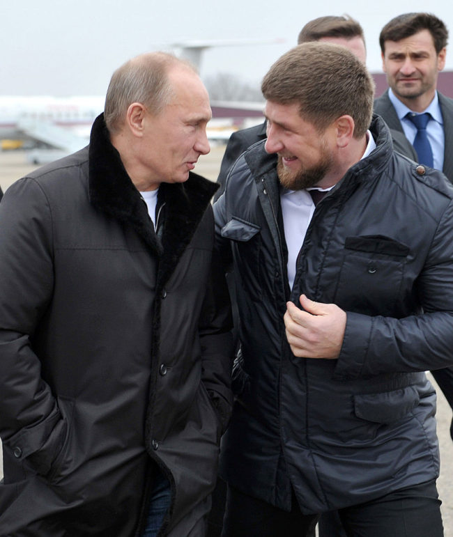 Russia's Prime Minister Vladimir Putin speaks with Chechnya's leader Ramzan Kadyrov