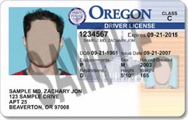 Sample Oregon driving licence
