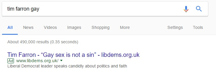 The Google page promoting the Lib Dem page