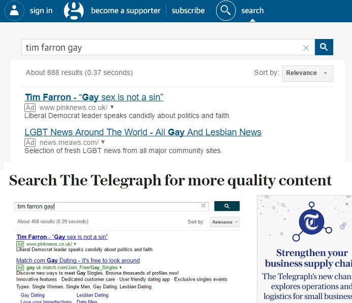 The Google search pages of the Guardian and Telegraph promote a PinkNews report