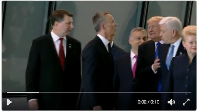 Trump shoves Montenegrin Prime Minister out the way