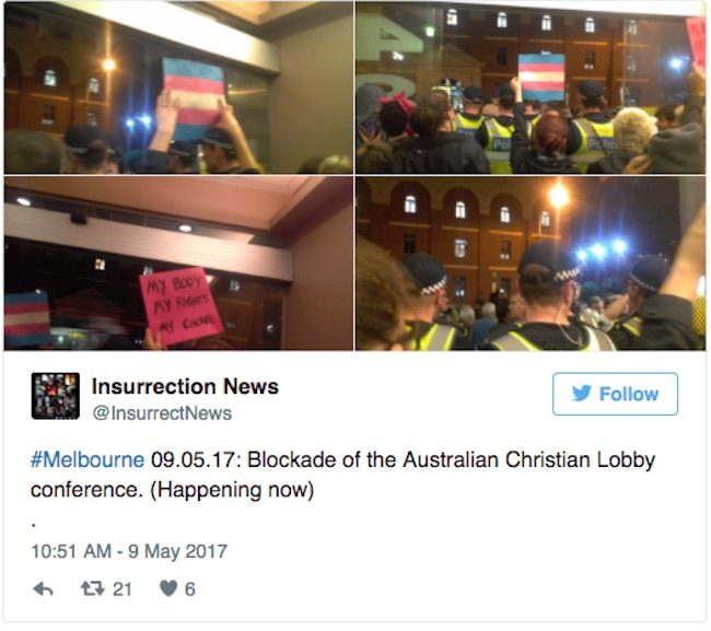 Tweet claiming that LGBT activists had 'blockaded' the event