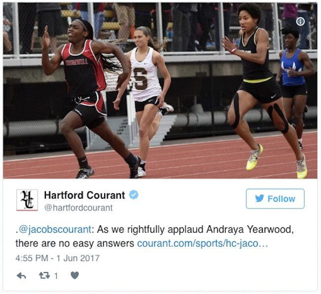 Hardford Courant Tweet with a picture of Andraya Yearwood