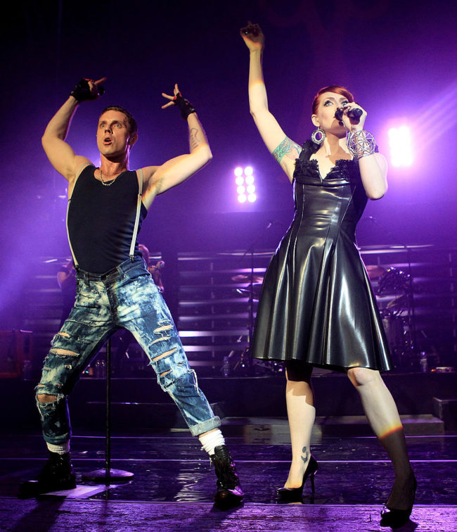 LONDON, ENGLAND - JUNE 22:  Ana Matronic and Jake Shears of the Scissor Sisters performs at Brixton Academy on June 22, 2010 in London, England.  (Photo by Chris Jackson/Getty Images)