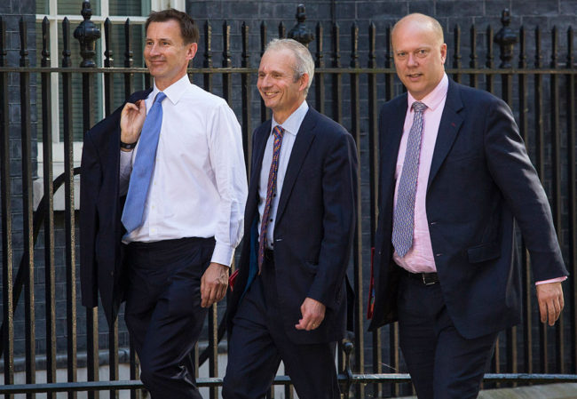 LONDON, ENGLAND - JULY 19: (L-R) Secretary of State for Health Jeremy Hunt, Lord President of the Council and Leader of the House of Commons, David Lidington and Secretary of State for Transport, Chris Grayling arrive at Downing Street for the weekly cabinet meeting on July 19, 2016 in London, England. Theresa May holds her first cabinet meeting today since becoming British Prime Minister last Wednesday, (June 13th). (Photo by Jack Taylor/Getty Images)
