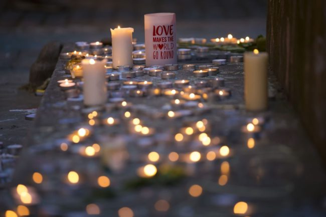 Memorial candles are pictured before a vigil in Manchester on May 29, 2017, placed in tribute to the victims of the May 22 terror attack at the Manchester Arena.