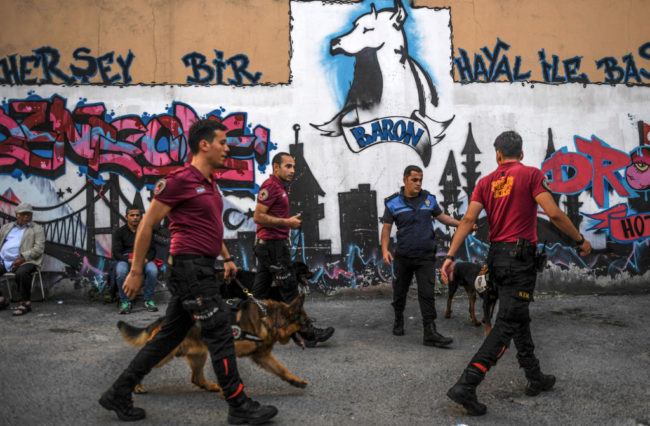 Turkish police parole the streets using dogs to stop LGBT activists and Istanbul Pride 2017