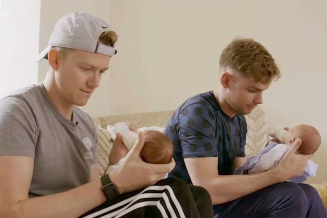 Kieron Richardson and husband and babies