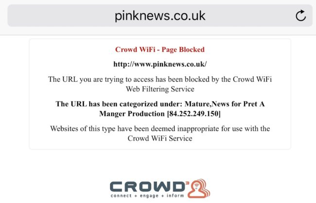 Sandwich giant pret a manger blocks access to pinknews as mature crowd wifi at pret blocks pinknews ccuart Image collections