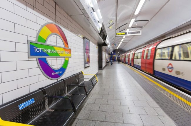 Tottenham Court Road tube station with rainbow roundel