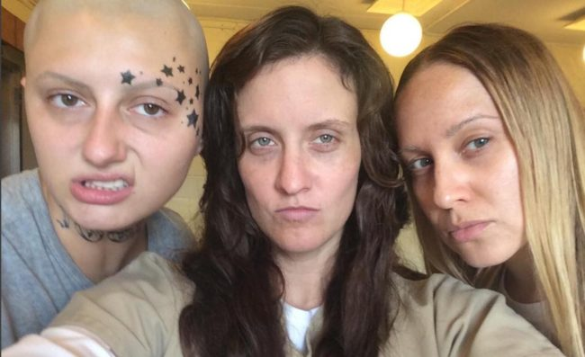 Helen, Angie and Brandy on the OITNB set