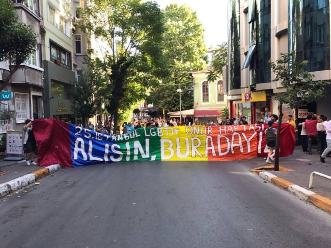 Ralliers at the banned Istanbul Pride 2017