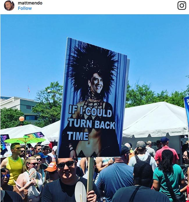 """""""If I could turn back time"""" Pride 2017 sign"""