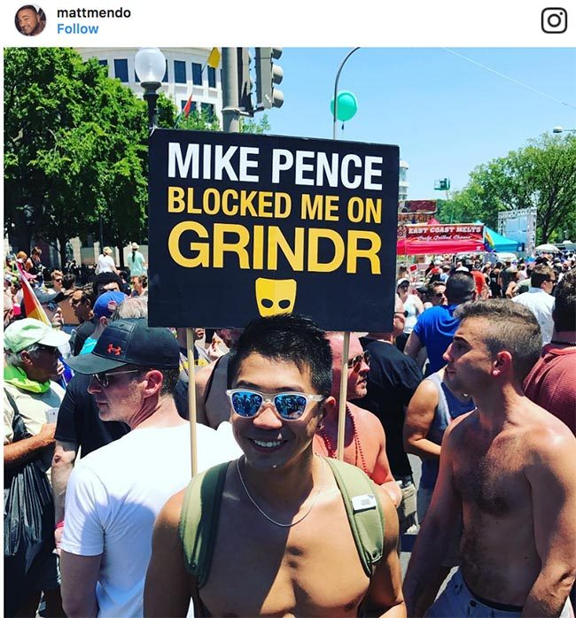 """""""Mike Pence blocked me on Grindr"""" Pride sign 2017"""